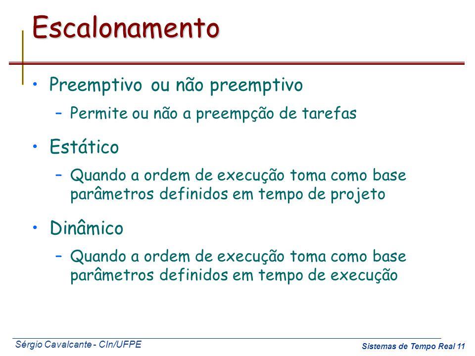 Sérgio Cavalcante - CIn/UFPE Sistemas de Tempo Real 11Escalonamento Preemptivo ou não preemptivo –Permite ou não a preempção de tarefas Estático –Quan