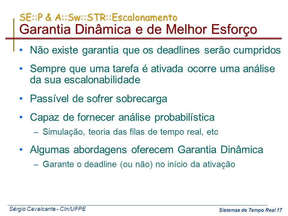 Sérgio Cavalcante - CIn/UFPE Sistemas de Tempo Real 17 SE::P & A::Sw::STR::Escalonamento Garantia Dinâmica e de Melhor Esforço Não existe garantia que