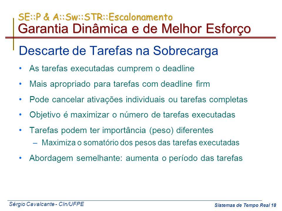 Sérgio Cavalcante - CIn/UFPE Sistemas de Tempo Real 18 SE::P & A::Sw::STR::Escalonamento Garantia Dinâmica e de Melhor Esforço Descarte de Tarefas na