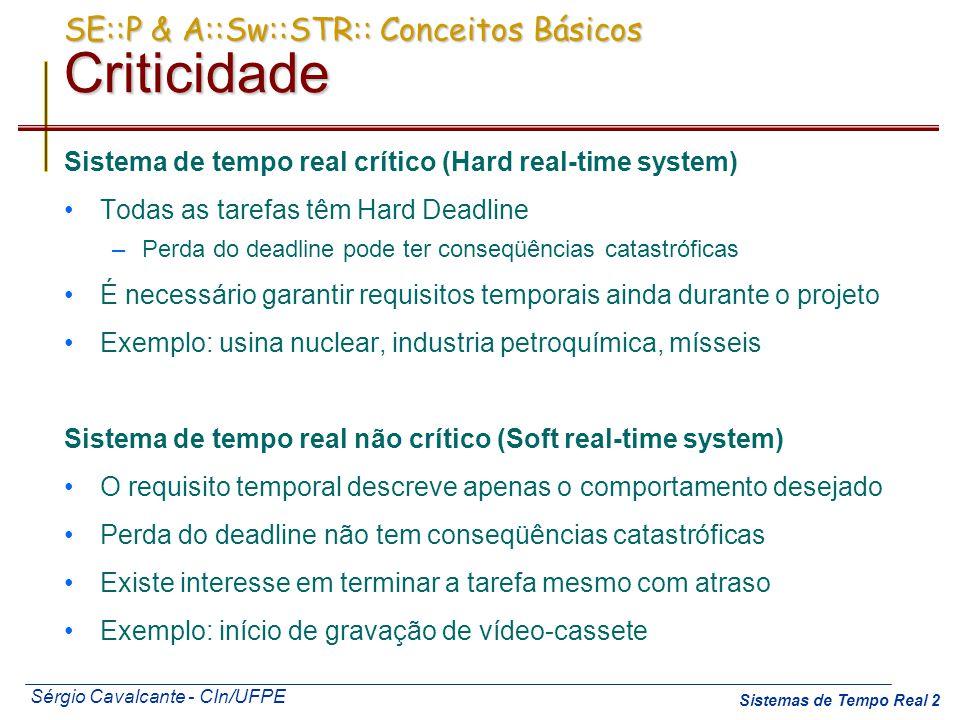 Sérgio Cavalcante - CIn/UFPE Sistemas de Tempo Real 3 SE::P & A::Sw::STR:: Conceitos Básicos Criticidade Deadline Firm Perda do deadline não tem conseqüências catastróficas Não existe valor em terminar a tarefa após o deadline Exemplo: ler o valor da temperatura