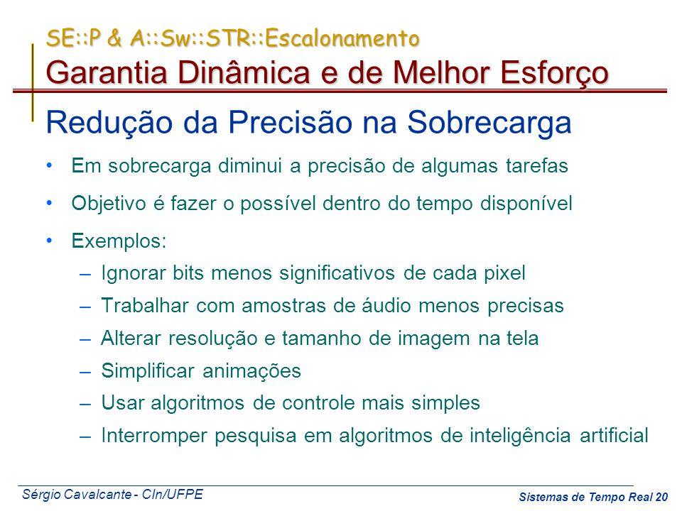 Sérgio Cavalcante - CIn/UFPE Sistemas de Tempo Real 20 SE::P & A::Sw::STR::Escalonamento Garantia Dinâmica e de Melhor Esforço Redução da Precisão na
