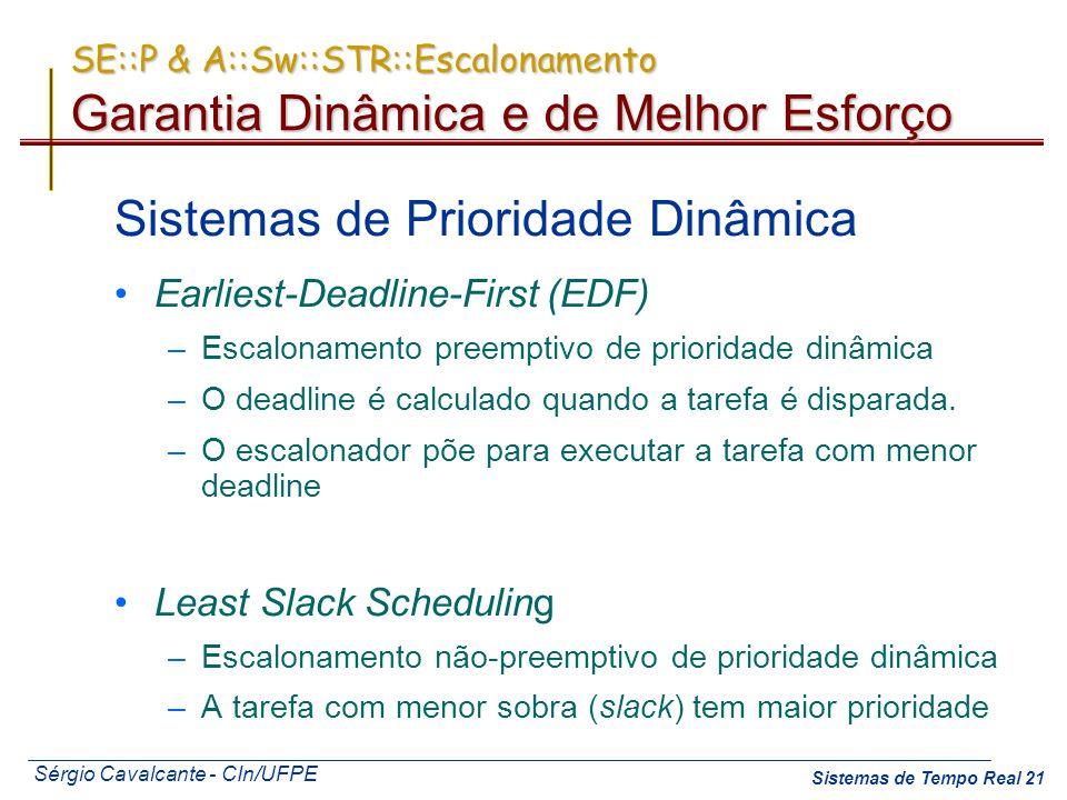 Sérgio Cavalcante - CIn/UFPE Sistemas de Tempo Real 21 Sistemas de Prioridade Dinâmica Earliest-Deadline-First (EDF) –Escalonamento preemptivo de prio