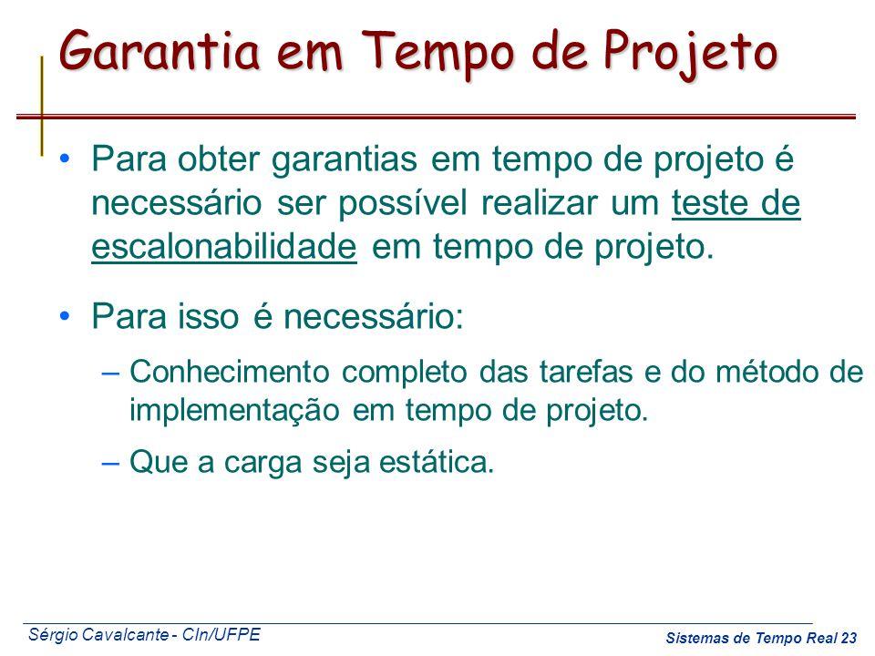 Sérgio Cavalcante - CIn/UFPE Sistemas de Tempo Real 23 Garantia em Tempo de Projeto Para obter garantias em tempo de projeto é necessário ser possível