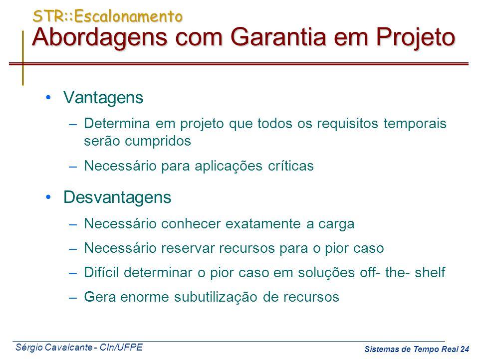 Sérgio Cavalcante - CIn/UFPE Sistemas de Tempo Real 24 STR::Escalonamento Abordagens com Garantia em Projeto Vantagens –Determina em projeto que todos