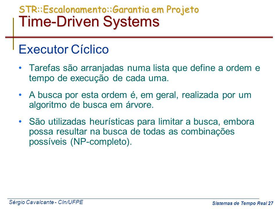 Sérgio Cavalcante - CIn/UFPE Sistemas de Tempo Real 27 STR::Escalonamento::Garantia em Projeto Time-Driven Systems Executor Cíclico Tarefas são arranj