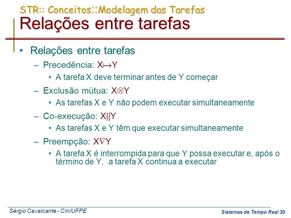 Sérgio Cavalcante - CIn/UFPE Sistemas de Tempo Real 30 STR:: Conceitos :: Modelagem das Tarefas Relações entre tarefas Relações entre tarefas –Precedê