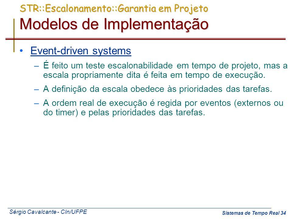 Sérgio Cavalcante - CIn/UFPE Sistemas de Tempo Real 34 STR::Escalonamento::Garantia em Projeto Modelos de Implementação Event-driven systems –É feito