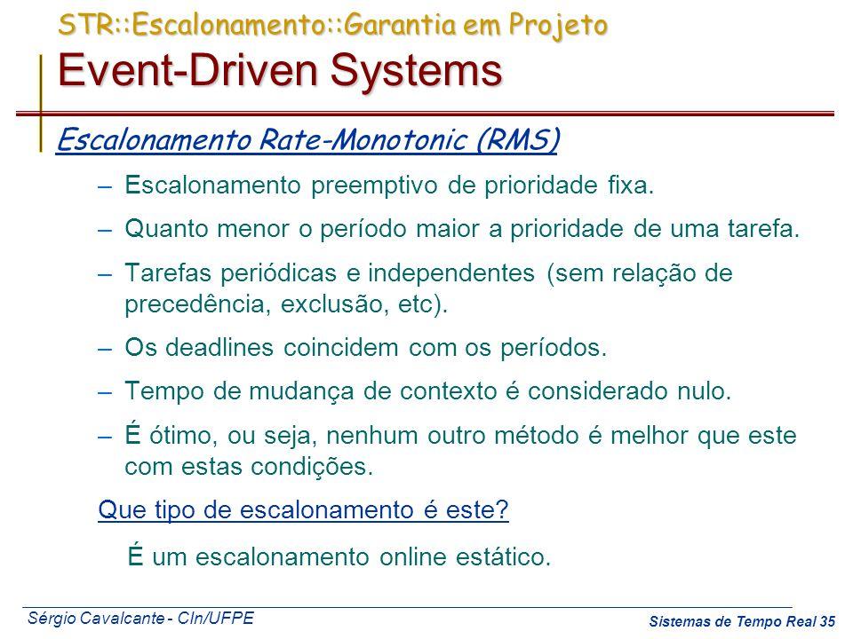 Sérgio Cavalcante - CIn/UFPE Sistemas de Tempo Real 35 STR::Escalonamento::Garantia em Projeto Event-Driven Systems Escalonamento Rate-Monotonic (RMS)