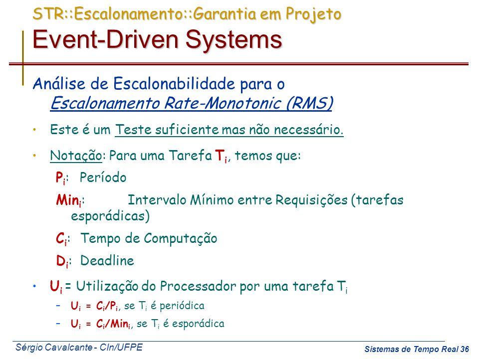 Sérgio Cavalcante - CIn/UFPE Sistemas de Tempo Real 36 STR::Escalonamento::Garantia em Projeto Event-Driven Systems Análise de Escalonabilidade para o