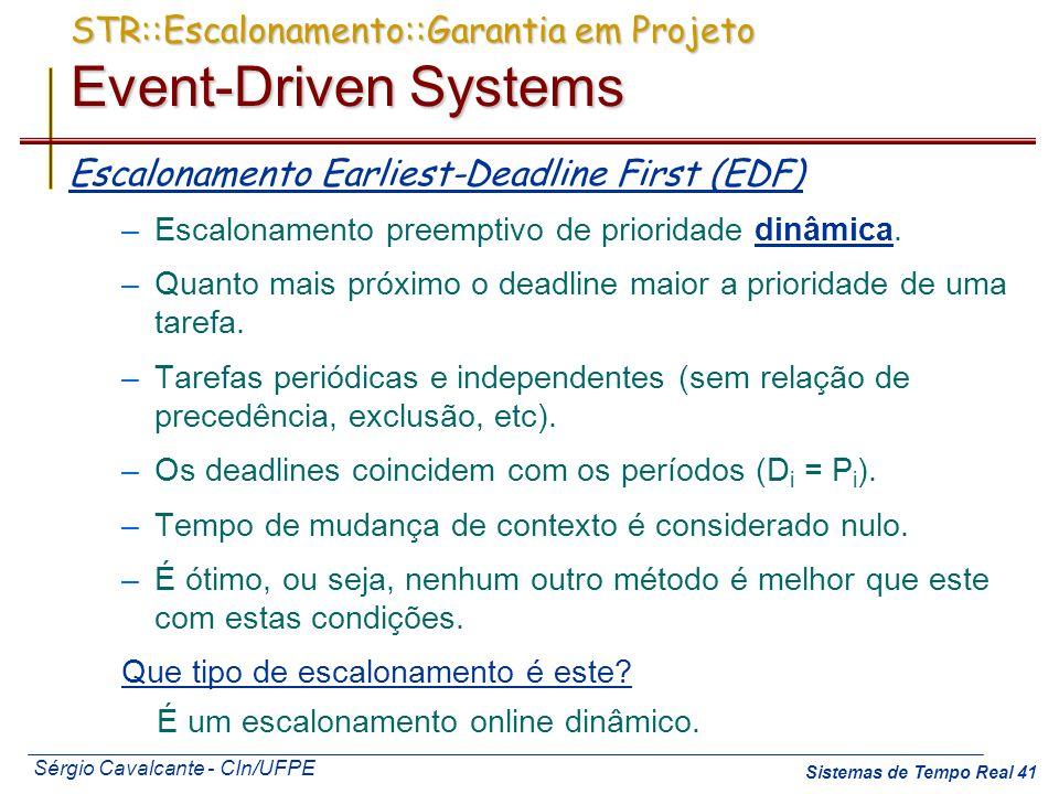 Sérgio Cavalcante - CIn/UFPE Sistemas de Tempo Real 41 STR::Escalonamento::Garantia em Projeto Event-Driven Systems Escalonamento Earliest-Deadline Fi