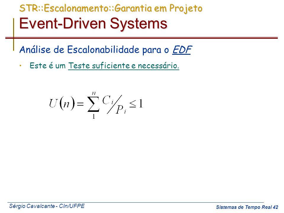 Sérgio Cavalcante - CIn/UFPE Sistemas de Tempo Real 42 STR::Escalonamento::Garantia em Projeto Event-Driven Systems Análise de Escalonabilidade para o