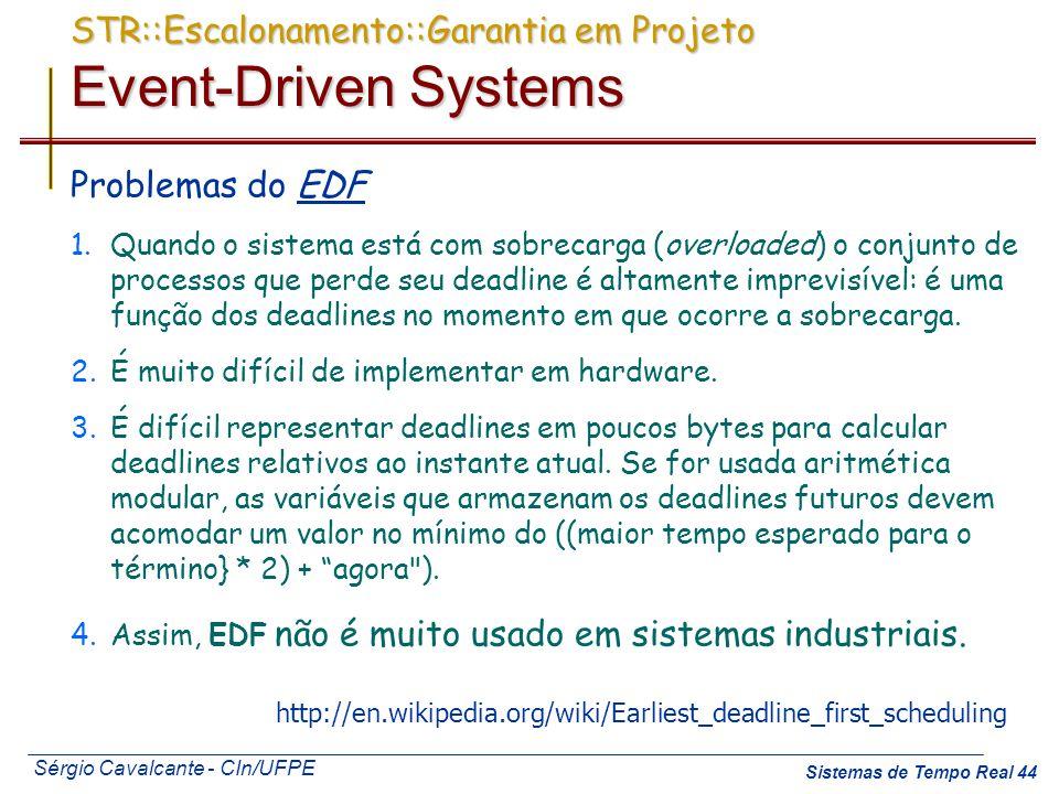 Sérgio Cavalcante - CIn/UFPE Sistemas de Tempo Real 44 STR::Escalonamento::Garantia em Projeto Event-Driven Systems Problemas do EDF 1.Quando o sistem