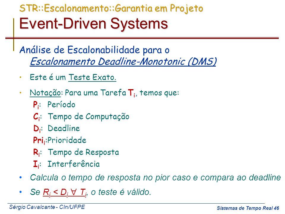 Sérgio Cavalcante - CIn/UFPE Sistemas de Tempo Real 46 STR::Escalonamento::Garantia em Projeto Event-Driven Systems Análise de Escalonabilidade para o