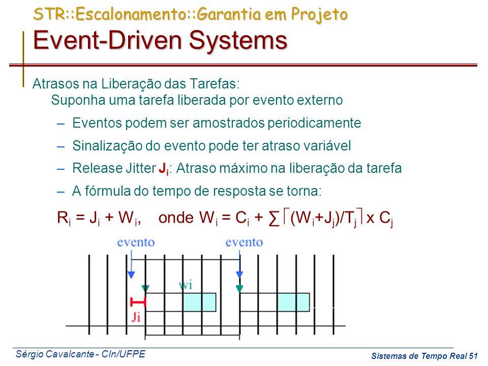 Sérgio Cavalcante - CIn/UFPE Sistemas de Tempo Real 51 Atrasos na Liberação das Tarefas: Suponha uma tarefa liberada por evento externo –Eventos podem