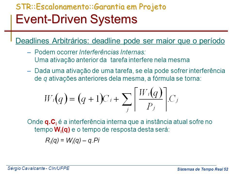 Sérgio Cavalcante - CIn/UFPE Sistemas de Tempo Real 52 Deadlines Arbitrários: deadline pode ser maior que o período –Podem ocorrer Interferências Inte
