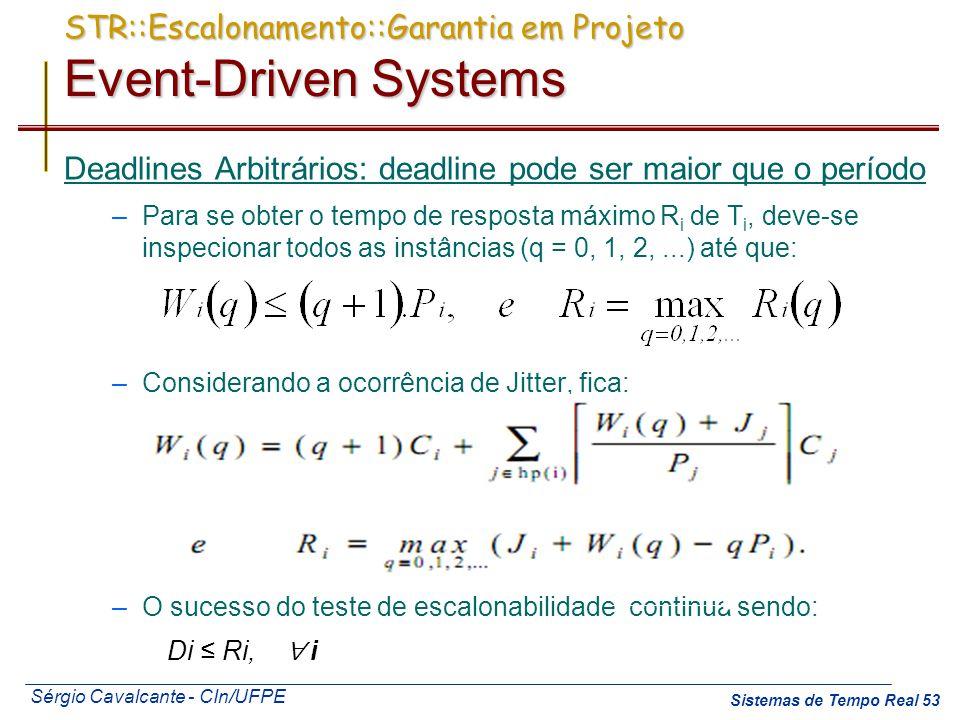 Sérgio Cavalcante - CIn/UFPE Sistemas de Tempo Real 53 Deadlines Arbitrários: deadline pode ser maior que o período –Para se obter o tempo de resposta