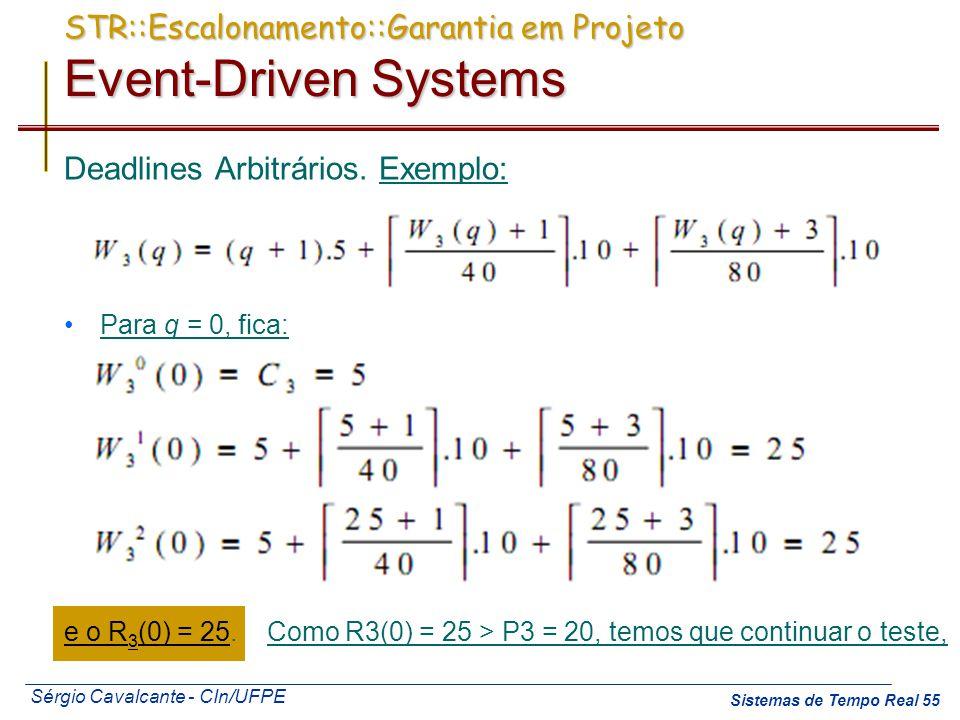 Sérgio Cavalcante - CIn/UFPE Sistemas de Tempo Real 55 Deadlines Arbitrários. Exemplo: Para q = 0, fica: e o R 3 (0) = 25. Como R3(0) = 25 > P3 = 20,