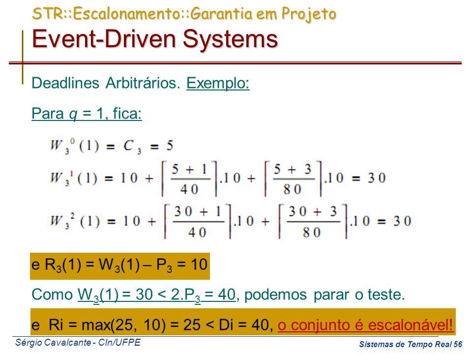 Sérgio Cavalcante - CIn/UFPE Sistemas de Tempo Real 56 Deadlines Arbitrários. Exemplo: Para q = 1, fica: e R 3 (1) = W 3 (1) – P 3 = 10 Como W 3 (1) =