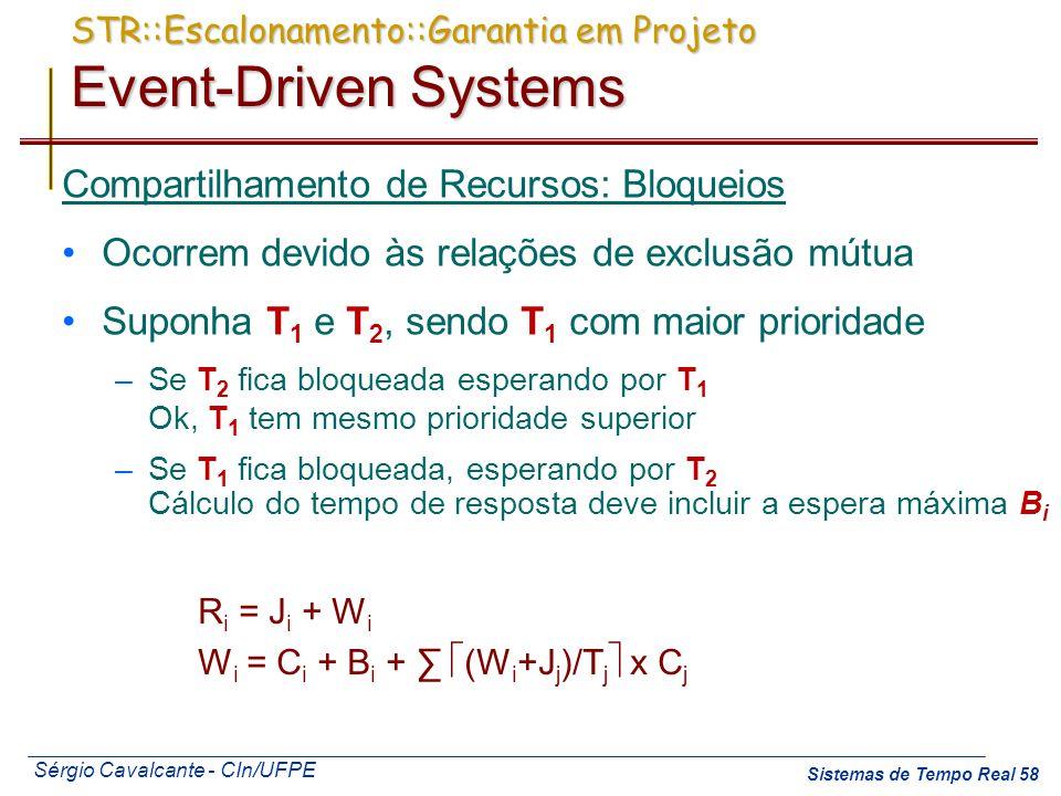 Sérgio Cavalcante - CIn/UFPE Sistemas de Tempo Real 58 Compartilhamento de Recursos: Bloqueios Ocorrem devido às relações de exclusão mútua Suponha T