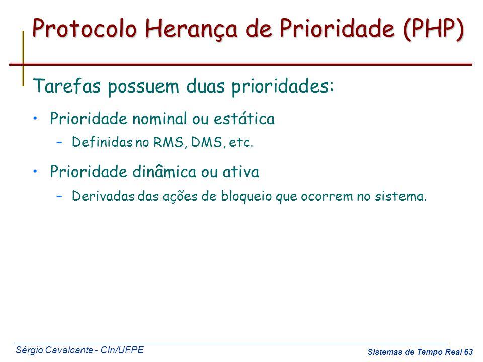 Sérgio Cavalcante - CIn/UFPE Sistemas de Tempo Real 63 Protocolo Herança de Prioridade (PHP) Tarefas possuem duas prioridades: Prioridade nominal ou e