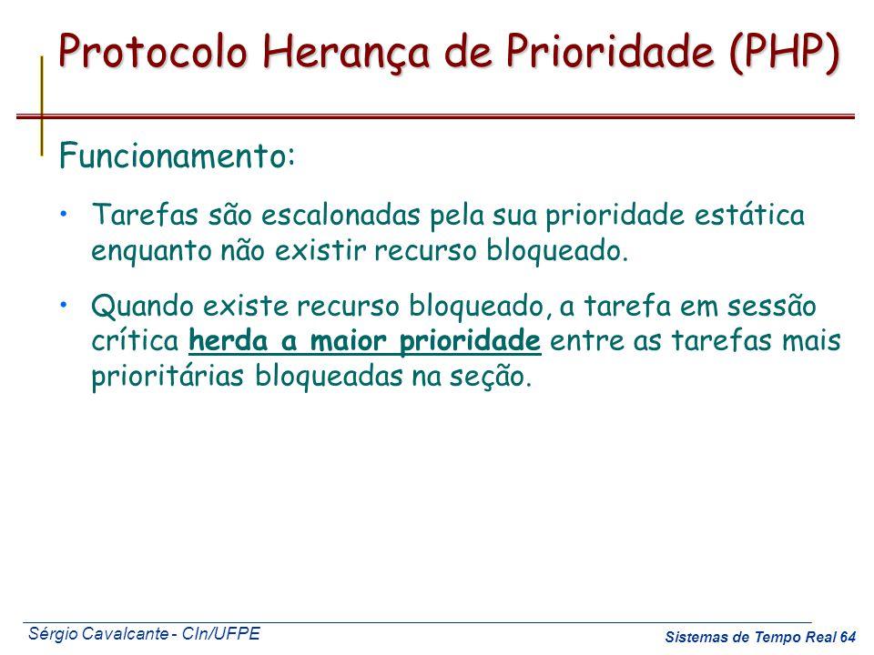 Sérgio Cavalcante - CIn/UFPE Sistemas de Tempo Real 64 Protocolo Herança de Prioridade (PHP) Funcionamento: Tarefas são escalonadas pela sua prioridad