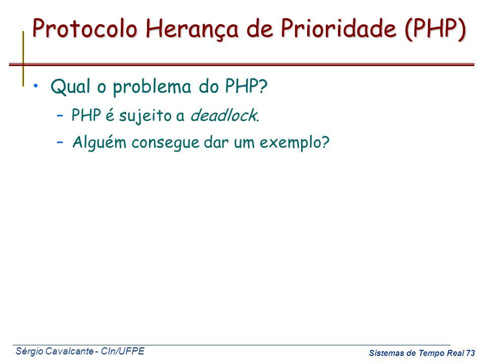 Sérgio Cavalcante - CIn/UFPE Sistemas de Tempo Real 73 Protocolo Herança de Prioridade (PHP) Qual o problema do PHP? –PHP é sujeito a deadlock. –Algué