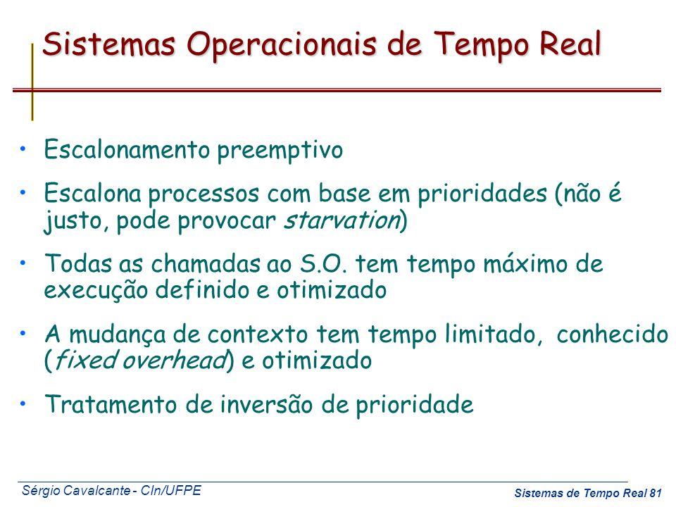 Sérgio Cavalcante - CIn/UFPE Sistemas de Tempo Real 81 Sistemas Operacionais de Tempo Real Escalonamento preemptivo Escalona processos com base em pri