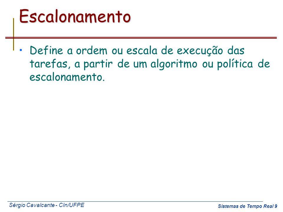 Sérgio Cavalcante - CIn/UFPE Sistemas de Tempo Real 9Escalonamento Define a ordem ou escala de execução das tarefas, a partir de um algoritmo ou polít