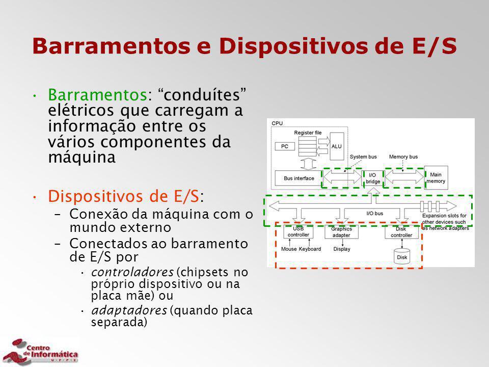 """Barramentos e Dispositivos de E/S Barramentos: """"conduítes"""" elétricos que carregam a informação entre os vários componentes da máquina Dispositivos de"""