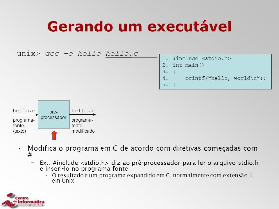 Gerando um executável unix> gcc –o hello hello.c Modifica o programa em C de acordo com diretivas começadas com # –Ex.: #include diz ao pré-processado