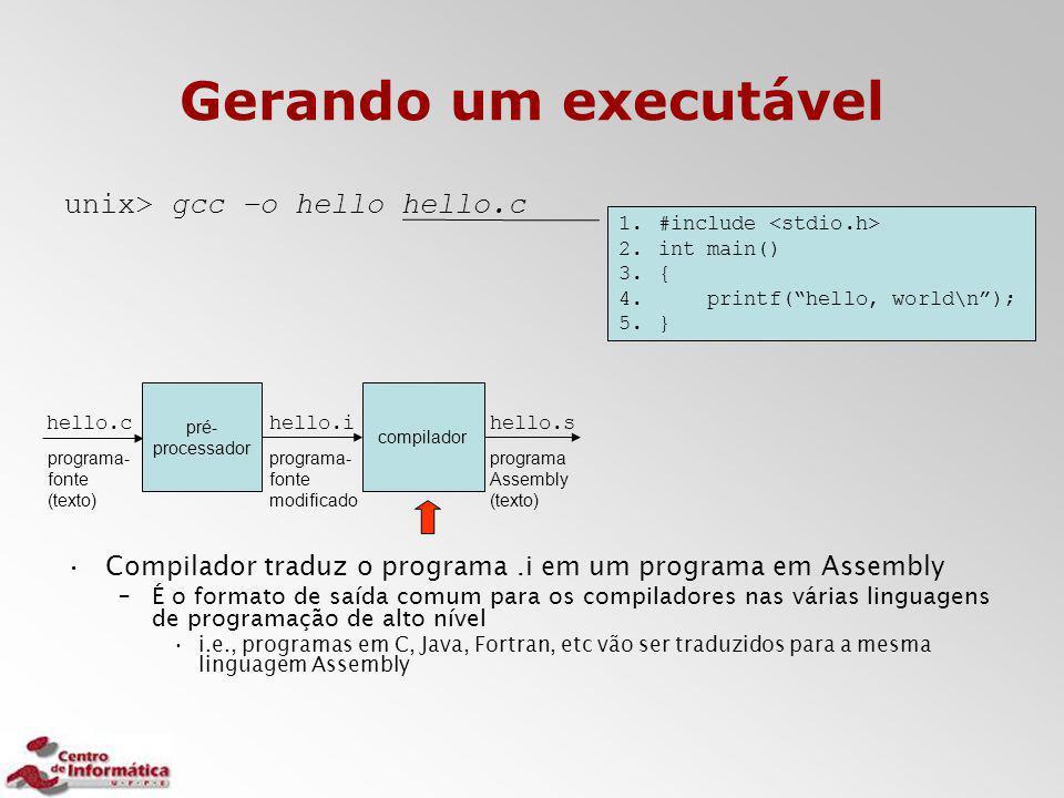 Gerando um executável unix> gcc –o hello hello.c Compilador traduz o programa.i em um programa em Assembly –É o formato de saída comum para os compila