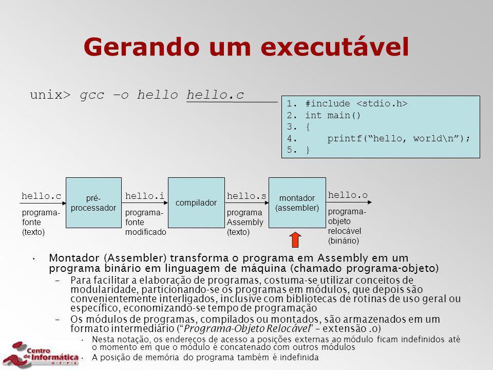 Gerando um executável unix> gcc –o hello hello.c Montador (Assembler) transforma o programa em Assembly em um programa binário em linguagem de máquina
