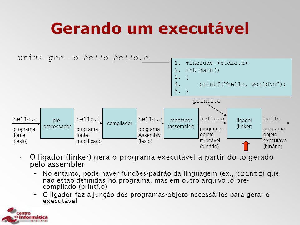 Gerando um executável unix> gcc –o hello hello.c O ligador (linker) gera o programa executável a partir do.o gerado pelo assembler –No entanto, pode h