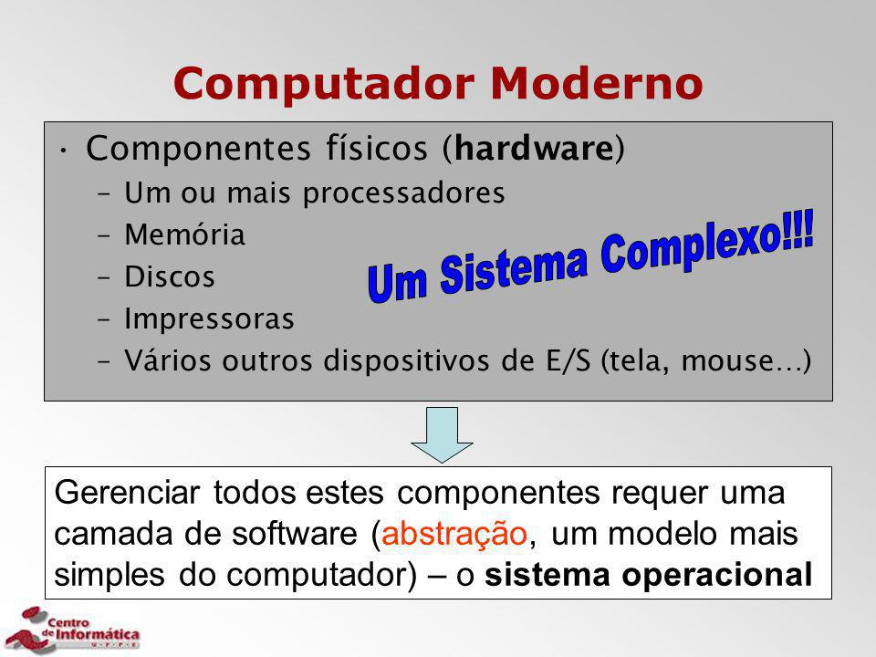 Computador Moderno Componentes físicos (hardware) –Um ou mais processadores –Memória –Discos –Impressoras –Vários outros dispositivos de E/S (tela, mo