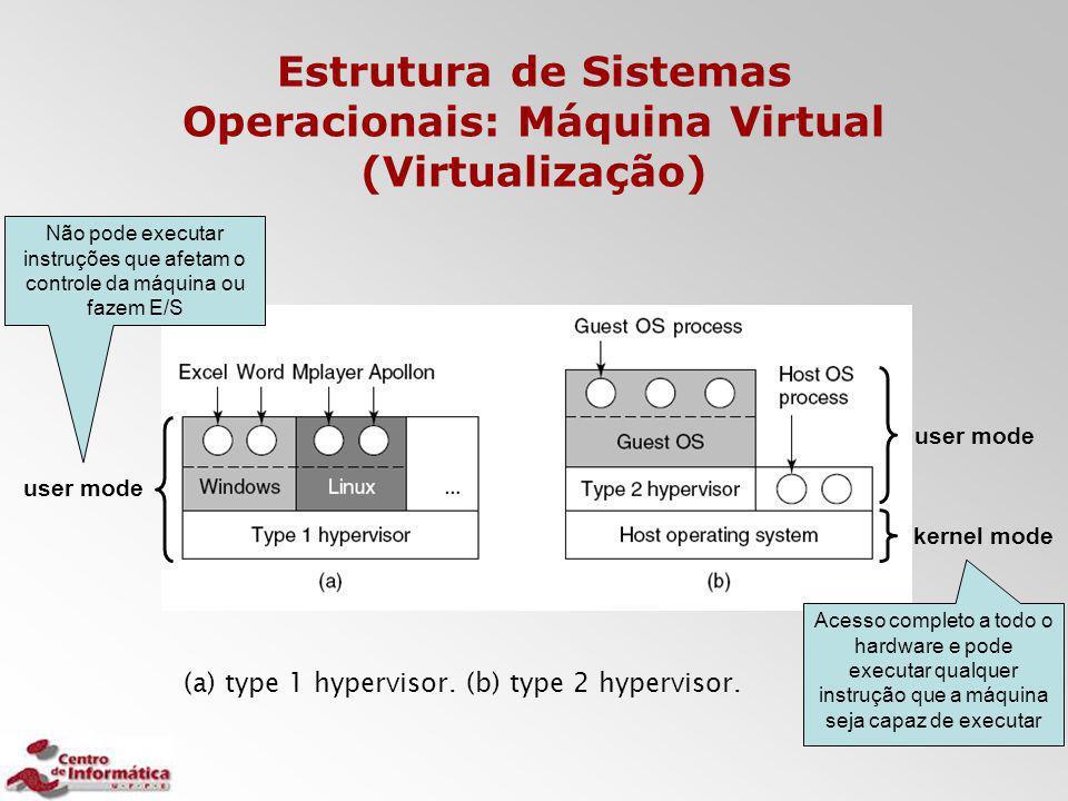 Estrutura de Sistemas Operacionais: Máquina Virtual (Virtualização) Acesso completo a todo o hardware e pode executar qualquer instrução que a máquina