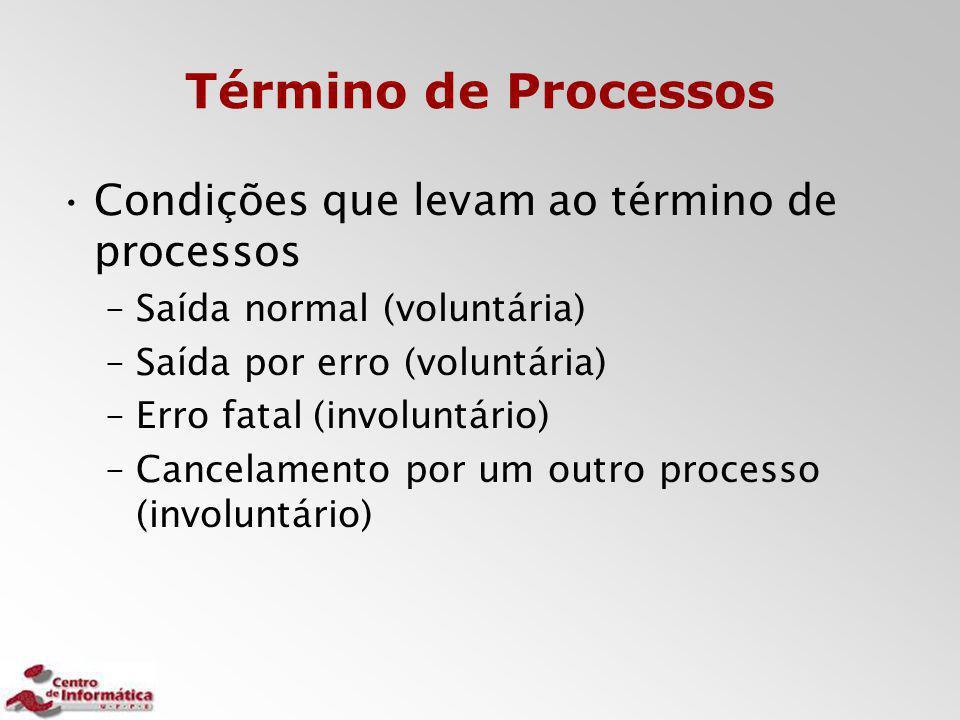 Término de Processos Condições que levam ao término de processos –Saída normal (voluntária) –Saída por erro (voluntária) –Erro fatal (involuntário) –C