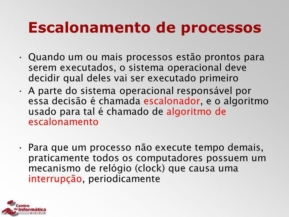 Escalonamento de processos Quando um ou mais processos estão prontos para serem executados, o sistema operacional deve decidir qual deles vai ser exec