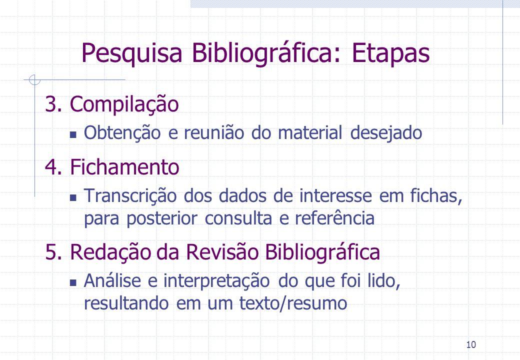 9 Pesquisa Bibliográfica: Etapas 1. Identificação: Onde posso encontrar material do meu interesse? Livrarias, Bibliotecas, Web, Universidades, Hospita