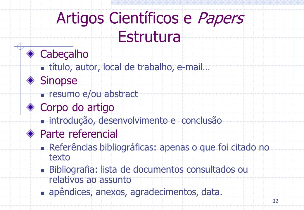31 Paper Apresentam uma síntese do conhecimento/ pensamento ou das descobertas sobre um tema específico Em geral, são publicados em anais de congresso