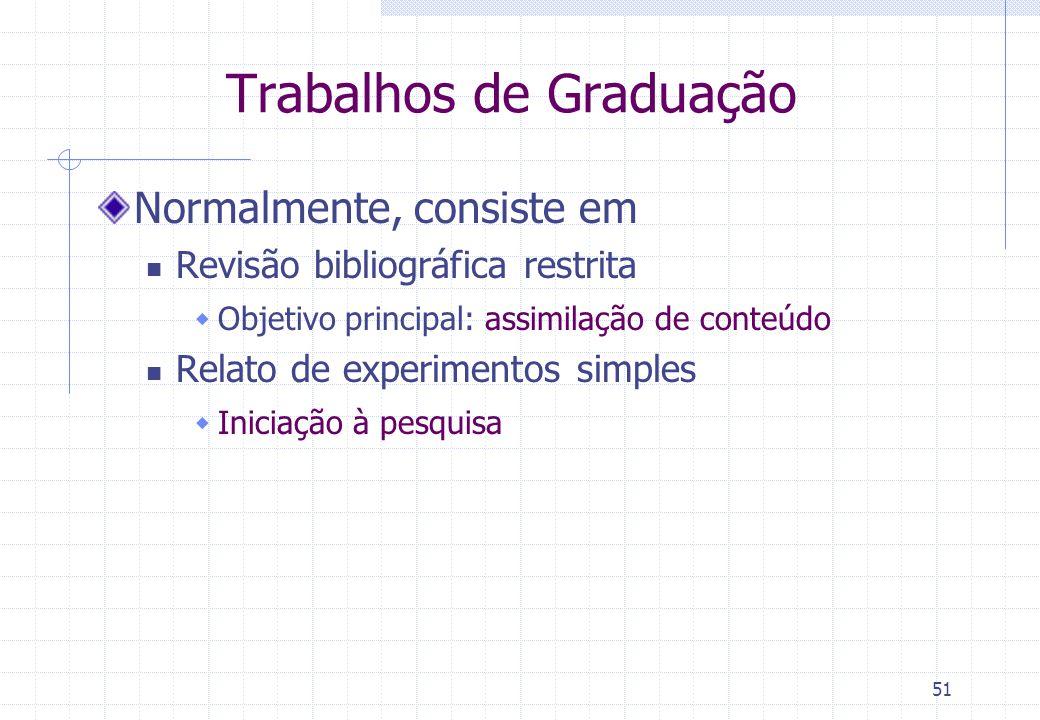 50 Tipos de Monografia Revisão Bibliográfica baseada em vários documentos Trabalho de conclusão de curso de graduação Dissertação (mestrado) Tese (dou
