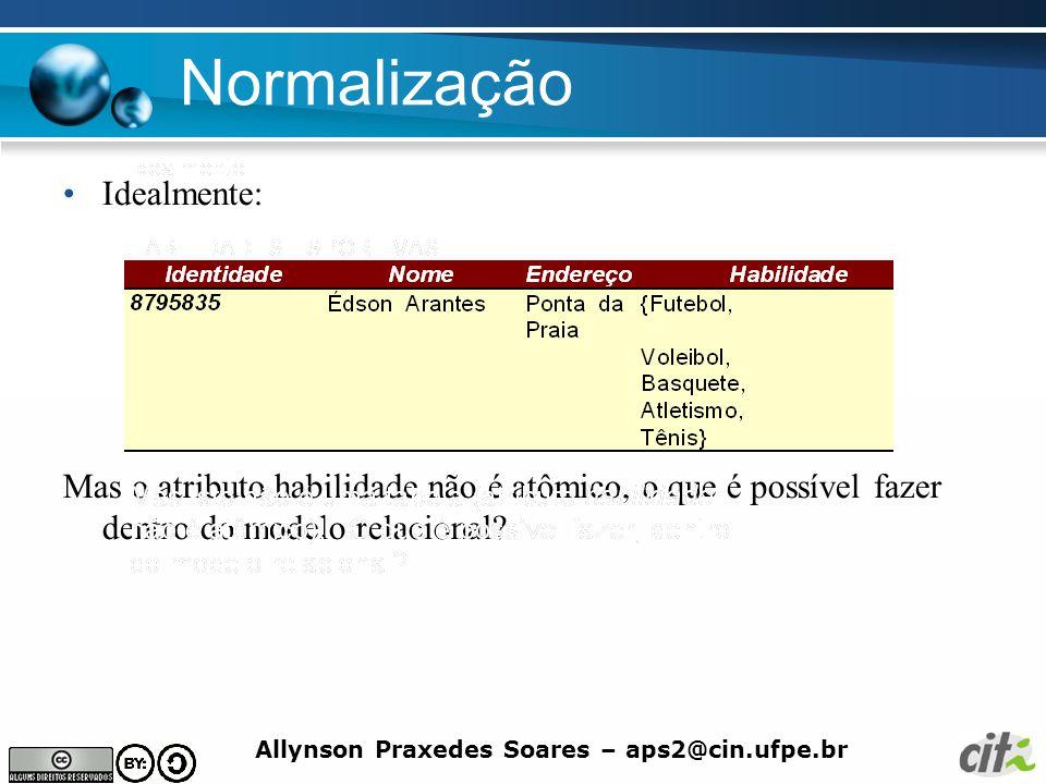 Allynson Praxedes Soares – aps2@cin.ufpe.br Normalização Idealmente: Mas o atributo habilidade não é atômico, o que é possível fazer dentro do modelo