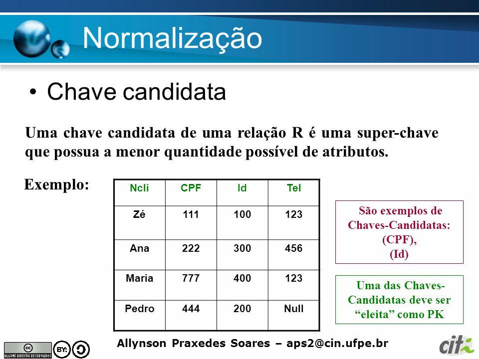 Allynson Praxedes Soares – aps2@cin.ufpe.br Normalização Chave candidata Uma chave candidata de uma relação R é uma super-chave que possua a menor qua