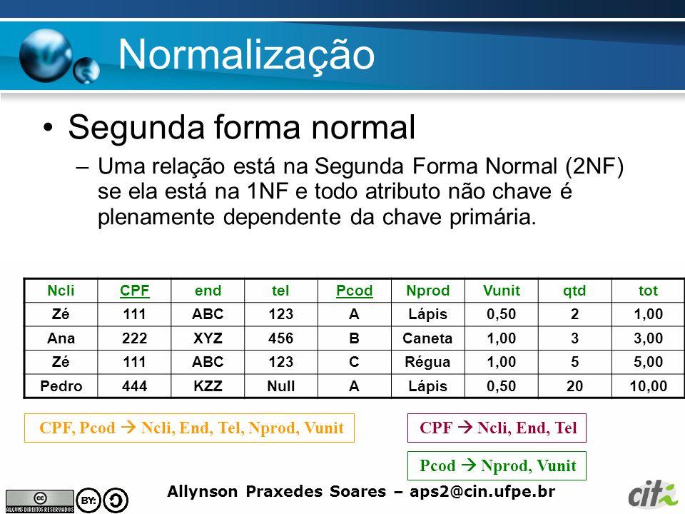 Allynson Praxedes Soares – aps2@cin.ufpe.br Normalização Segunda forma normal –Uma relação está na Segunda Forma Normal (2NF) se ela está na 1NF e tod