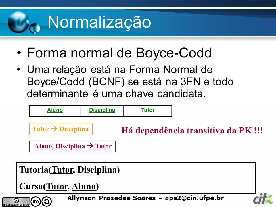 Allynson Praxedes Soares – aps2@cin.ufpe.br Normalização Forma normal de Boyce-Codd Uma relação está na Forma Normal de Boyce/Codd (BCNF) se está na 3