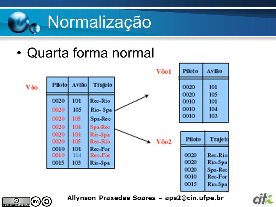 Allynson Praxedes Soares – aps2@cin.ufpe.br Normalização Quarta forma normal