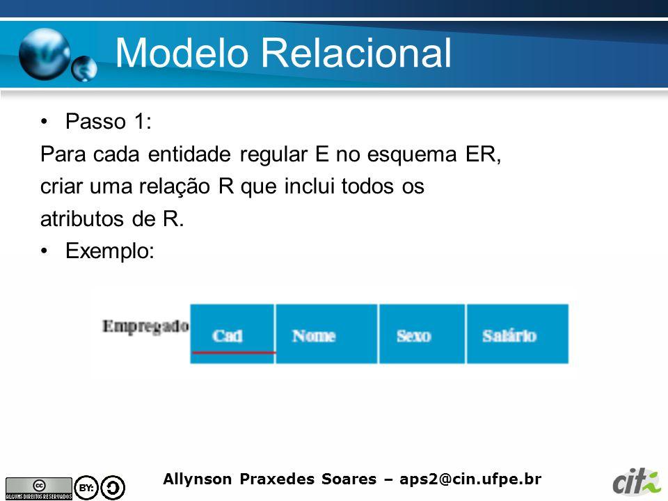 Allynson Praxedes Soares – aps2@cin.ufpe.br Modelo Relacional Passo 1: Para cada entidade regular E no esquema ER, criar uma relação R que inclui todo