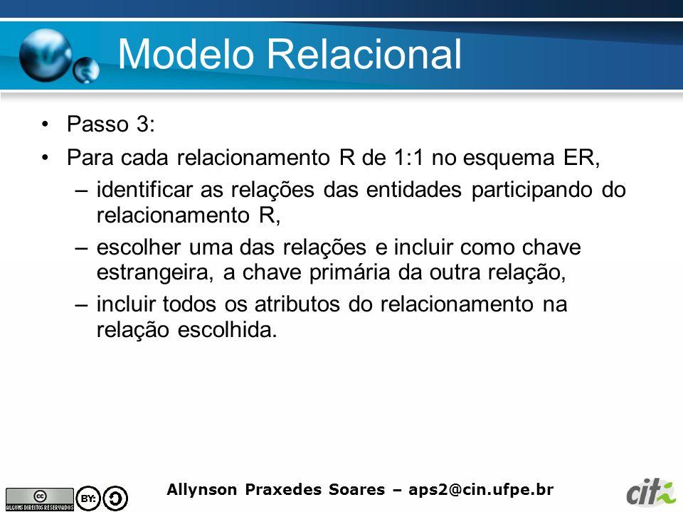 Allynson Praxedes Soares – aps2@cin.ufpe.br Modelo Relacional Passo 3: Para cada relacionamento R de 1:1 no esquema ER, –identificar as relações das e