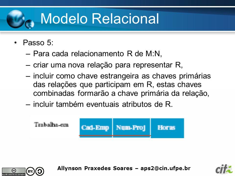 Allynson Praxedes Soares – aps2@cin.ufpe.br Modelo Relacional Passo 5: –Para cada relacionamento R de M:N, –criar uma nova relação para representar R,