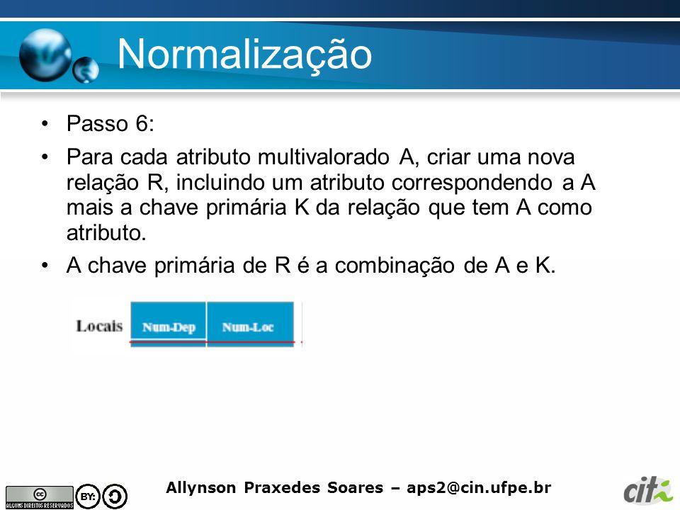 Allynson Praxedes Soares – aps2@cin.ufpe.br Normalização Passo 6: Para cada atributo multivalorado A, criar uma nova relação R, incluindo um atributo