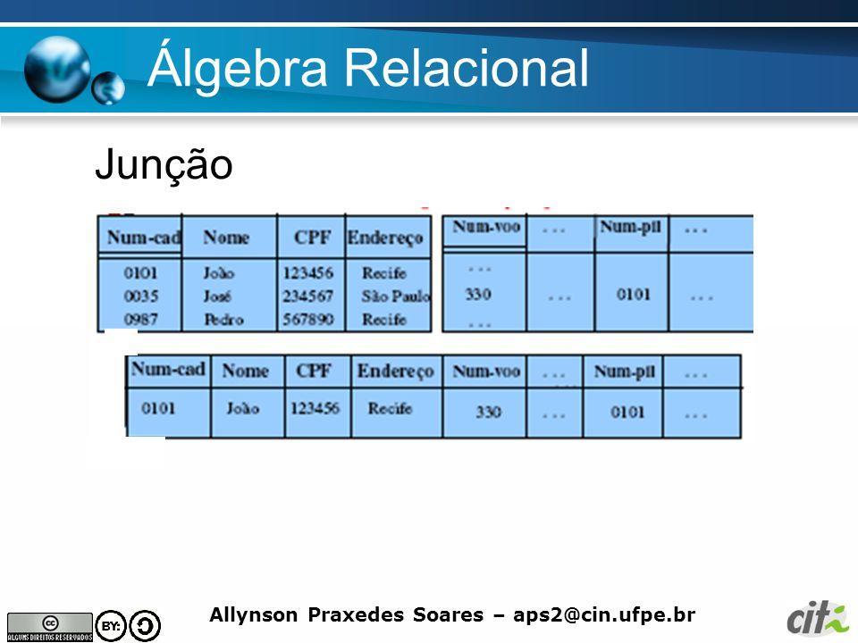 Allynson Praxedes Soares – aps2@cin.ufpe.br Álgebra Relacional Junção